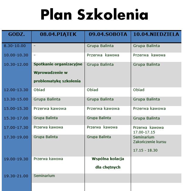 plan szkolenia